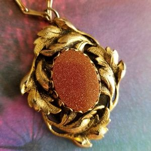 Vintage Victorian Revival goldstone necklace